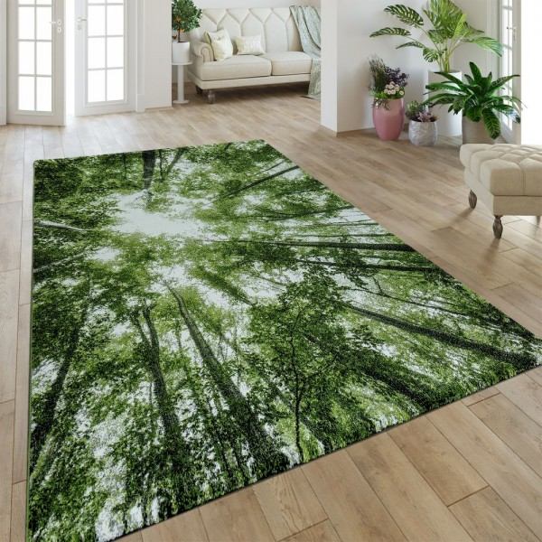 Moderner Kurzflor Teppich Greenery Natur Look Wald Optik Grün Weiß