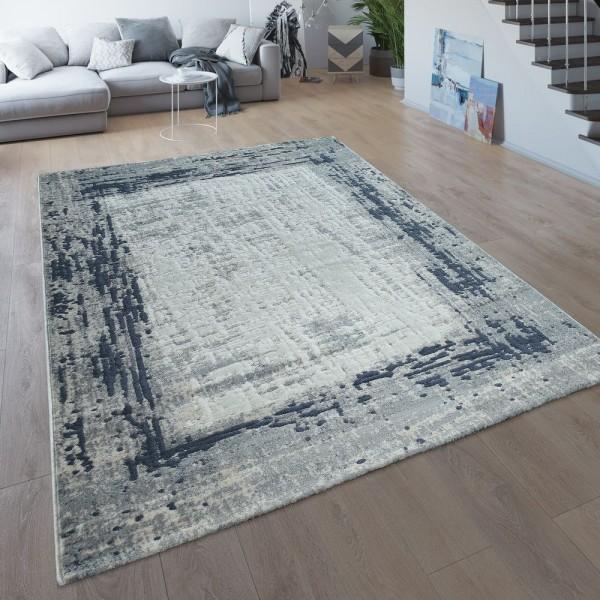 Wohnzimmer-Teppich, Kurzflor Mit Moderner Bordüre, Meliert In Grau Blau