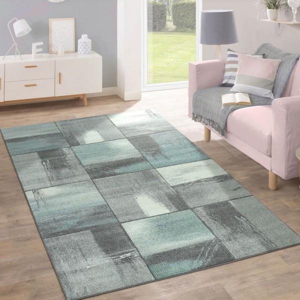 Kurzflor Teppich Trendige Pastellfarben Modernes Triangel Design Türkis Grau