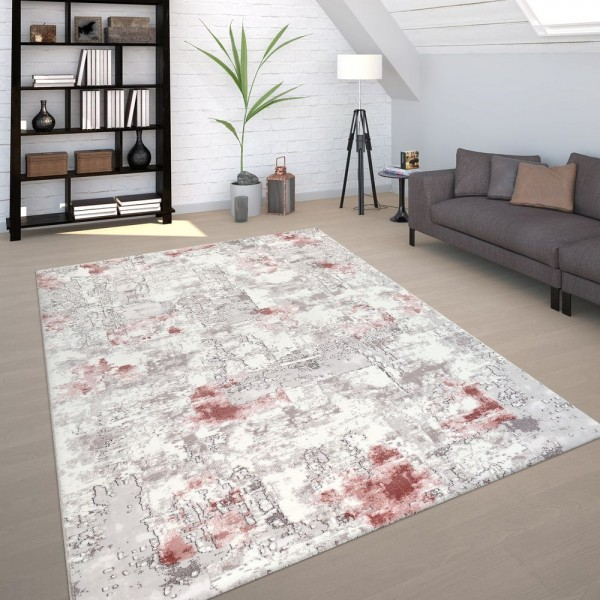 Vintage Teppich Grau Rosa Wohnzimmer Used Design Industrial Stil Kurzflor