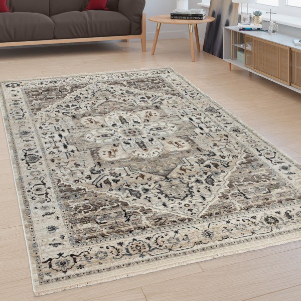Orientalischer Kurzflor Teppich Mit Bordüre