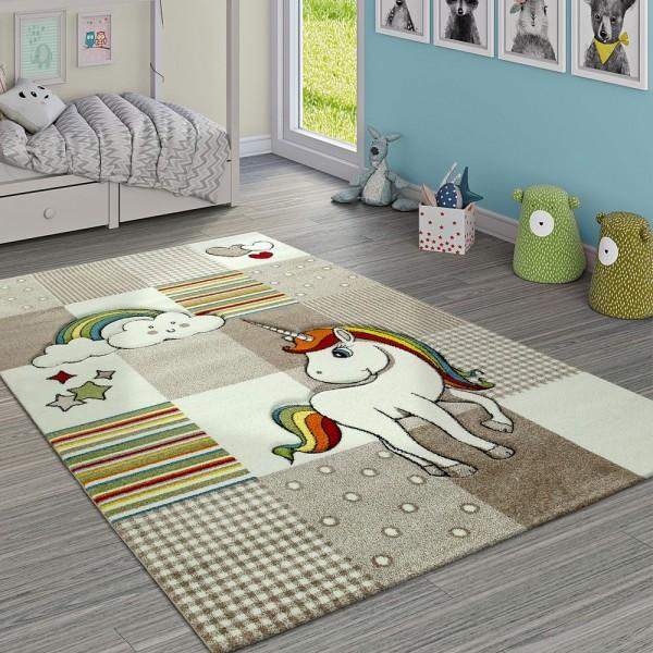 Kinderteppich Kinderzimmer Kariert Einhorn Regenbogen Beige Creme