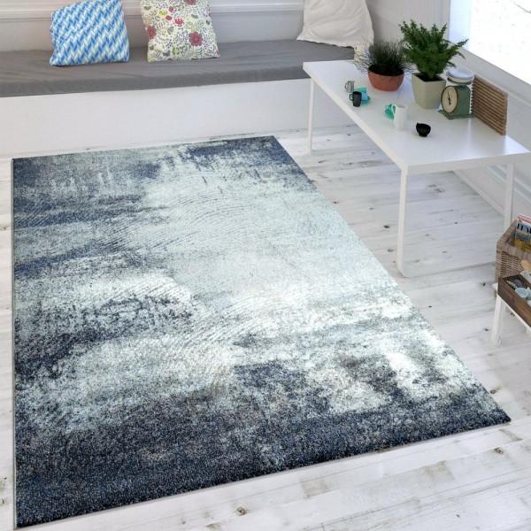 Wohnzimmer-Teppich, Designer-Kurzflor Mit Used-Optik, Meliertes Muster In Blau
