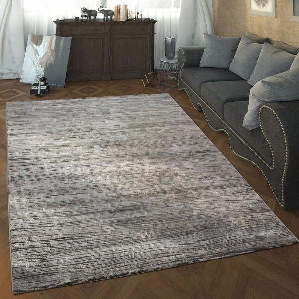 Designer Wohnzimmer Teppich Hoch Tief Struktur Wellen Muster Modern In Grau Weiß