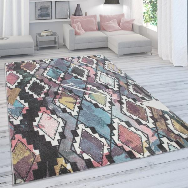 Teppich Abstrakter Rauten-Look Pastellfarben