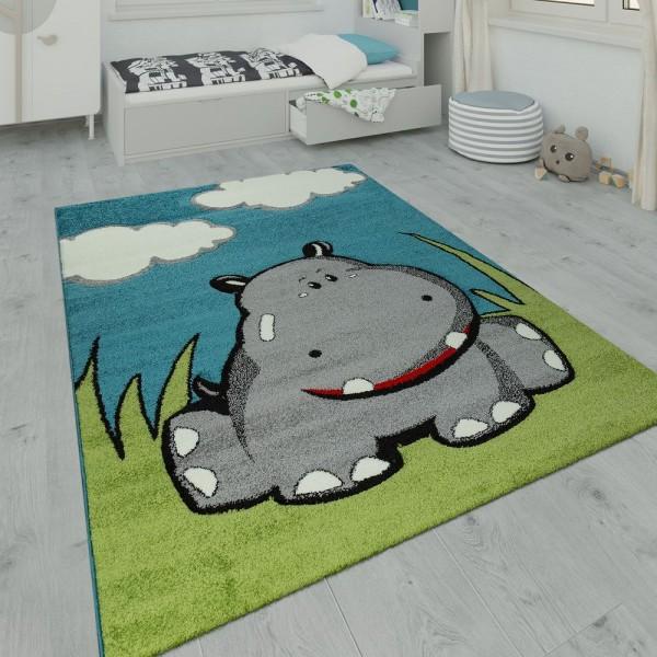 Kinderteppich Spielzimmer Nilpferd Design Blau