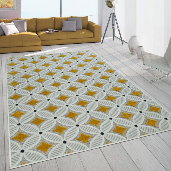 In- & Outdoor-Teppich Balkon Terrasse Mit Retro-Muster 3D-Web-Art In Gelb Beige