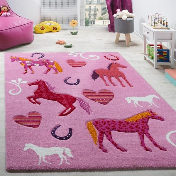 Kinderzimmer Teppich Kinderteppich Pferde Huf Herz Motive Konturenschnitt Pink