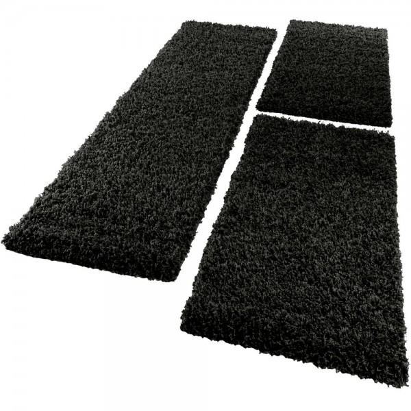 Bedside 3-Part Carpet Runner Set / Shaggy Carpet in Black