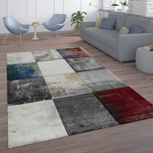 Short-Pile Rug Check Pattern Red