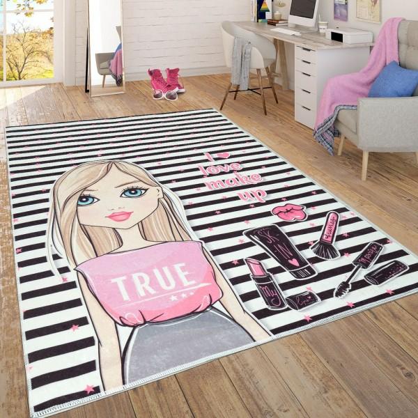 Trendiger Flachgewebe Kinderzimmer Mädchen Teppich Make Up Blond Mehrfarbig
