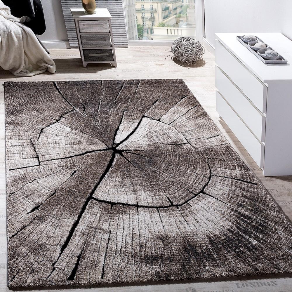 teppich wohnzimmer holzstamm optik natur grau braun
