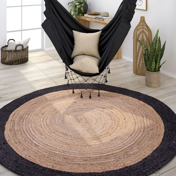 Wohnzimmer Teppich Rund Jute Handgefertigt Bordüre