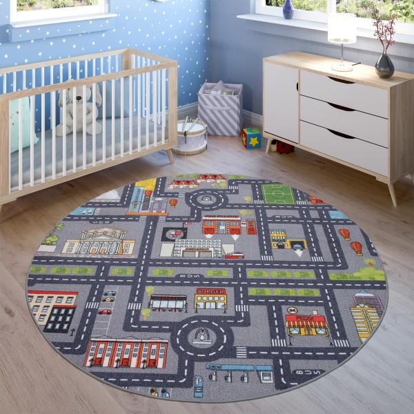 Teppich Kinderzimmer Spielteppich Straßen Motiv