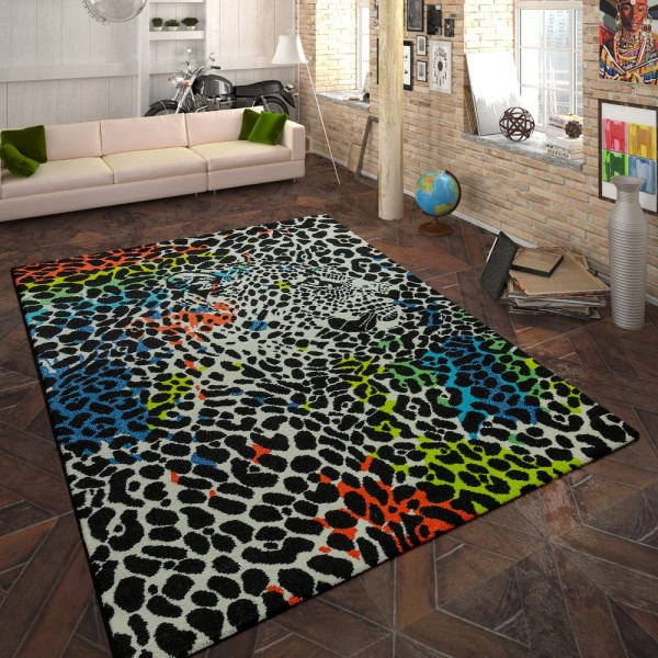 Designer Teppich Animal Leopard Design Multicolor