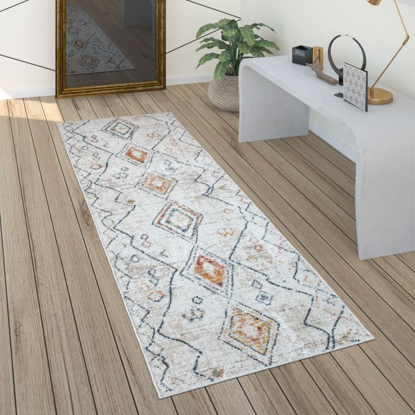 Teppich Wohnzimmer Vintage Ethno Muster Rauten