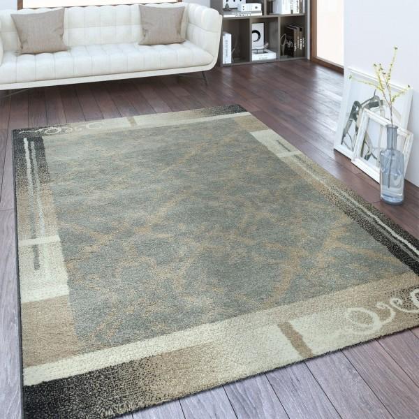 Designer Teppich Bordüre Abstraktes Design Silber Grau