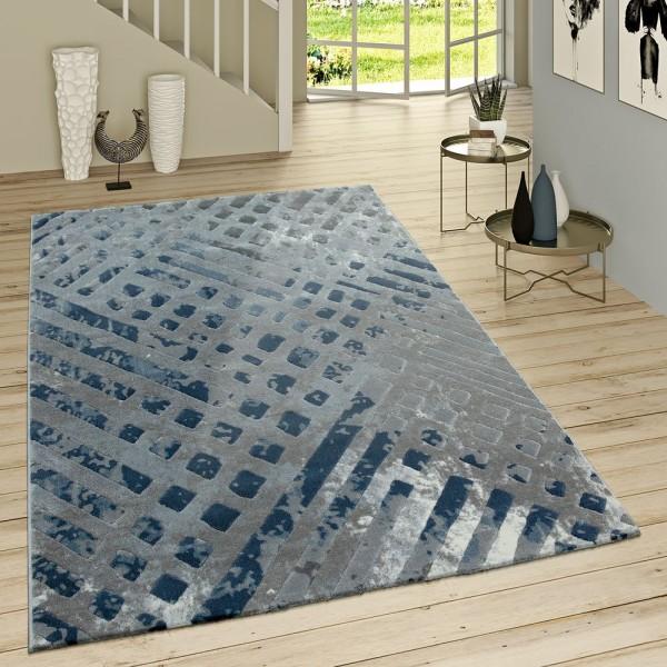 Kurzflor Teppich Modern Ausgefallenes Muster Vintage Style Ombre Look Grau Blau