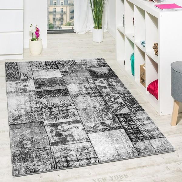 Wohnzimmer Teppich Grau Orient Muster Ausverkauf