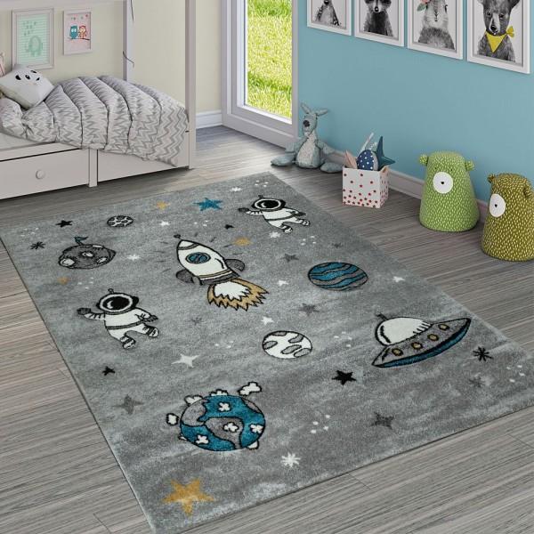 Kinderzimmer Teppich Grau Rakete Weltall Astronaut Sterne Mond Strapazierfähig