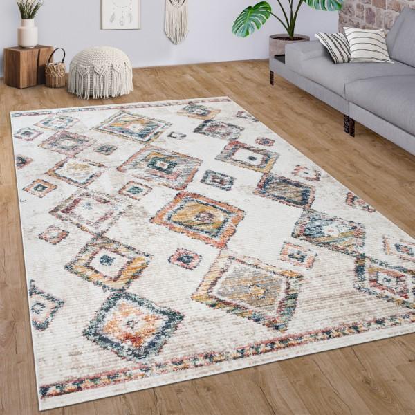 Teppich Wohnzimmer Vintage Rauten Ethno Muster