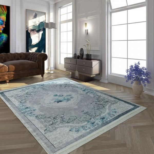 Moderner Teppich Mit Bedrucktem Vintage Muster Trend Design Grau Türkis