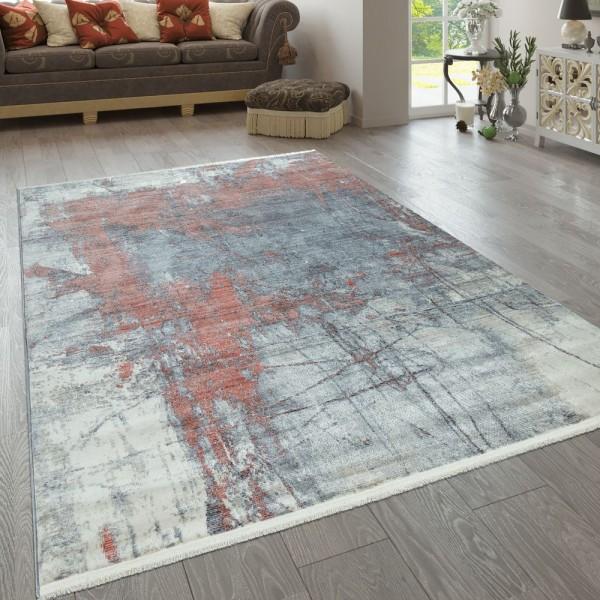 Teppich Wohnzimmer Bunt Blau Rot Weiß Abstrakt Gemälde Design Used Look Kurzflor