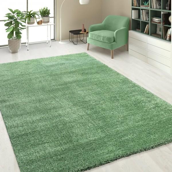 Hochflorteppich Einfarbig Grün