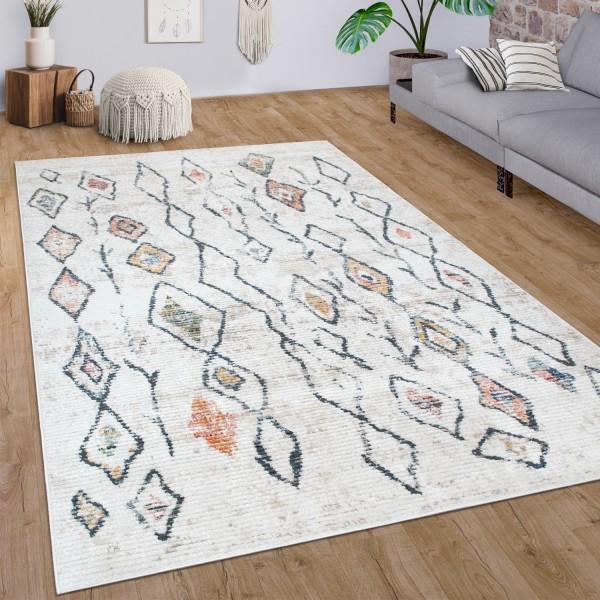 Teppich Wohnzimmer Vintage Abstraktes Ethno Muster