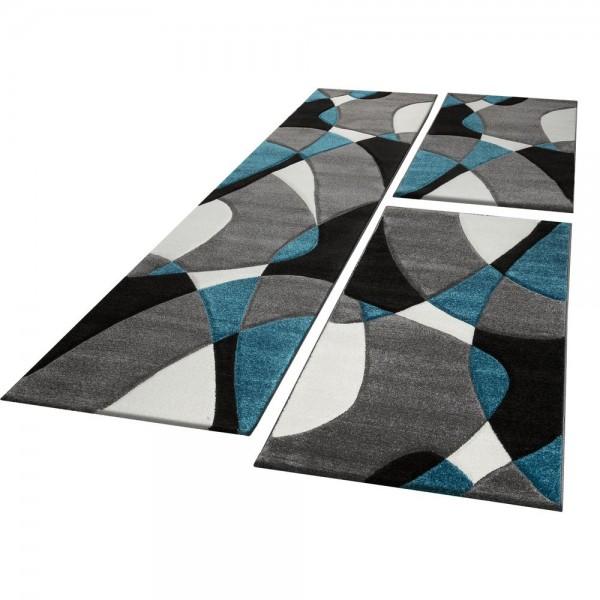 Läufer Set Geometrisch Türkis Grau