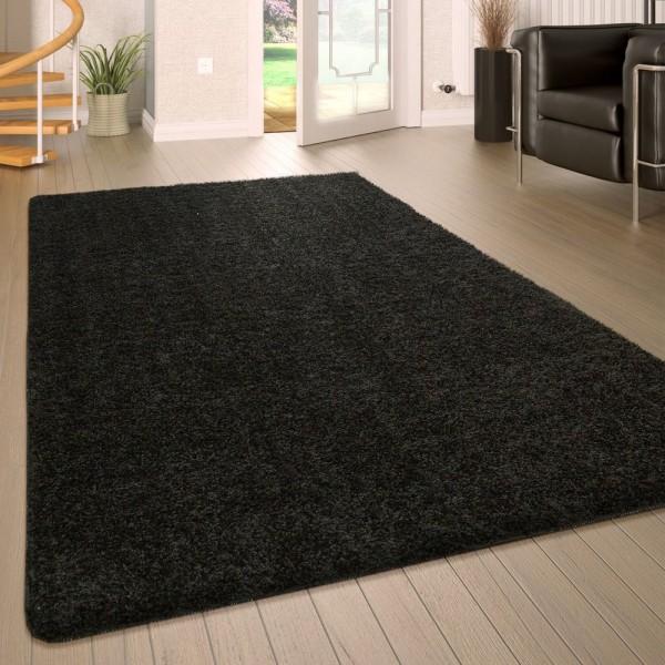 Hochflor Wohnzimmer Teppich Waschbar Shaggy Rutschfest Einfarbig In Schwarz