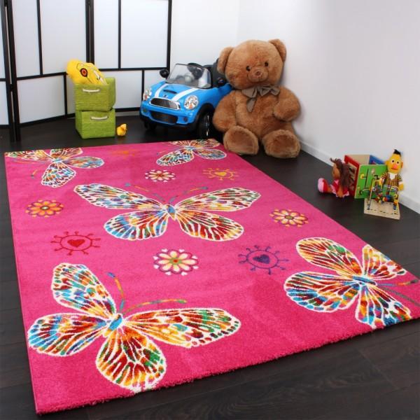Moderner Kinder Teppich Butterfly Schmetterling Design in Pink Top Qualität