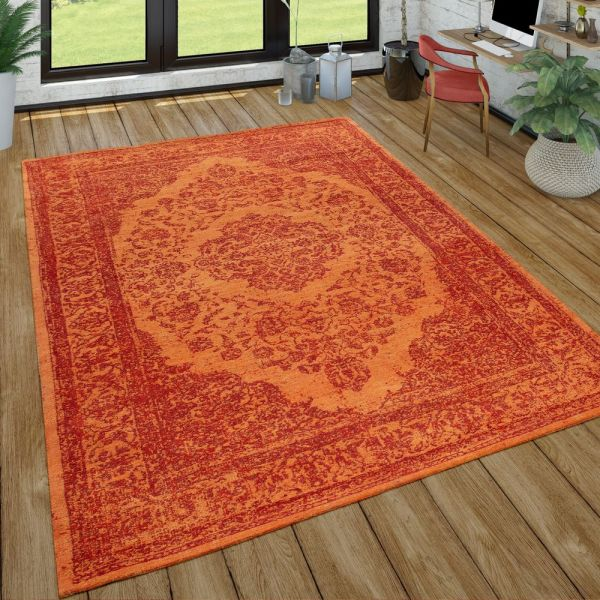 Orient Kurzflor Teppich Wohnzimmer Orientalisches Design Used-Look In Orange