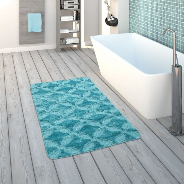 Badematte, Kurzflor-Teppich Für Badezimmer Einfarbig Kreis-Muster, In Türkis