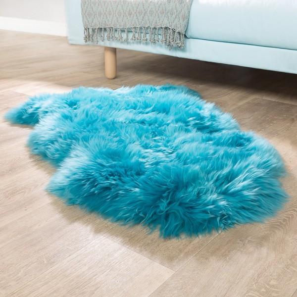 Australisches Lammfell Naturfell Bettvorleger Echtes Schaffell In Petrol Blau