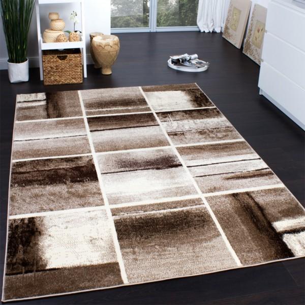 Designer Teppich Modern Trendiger Kurzflor Teppich Karo Muster Beige Braun Creme