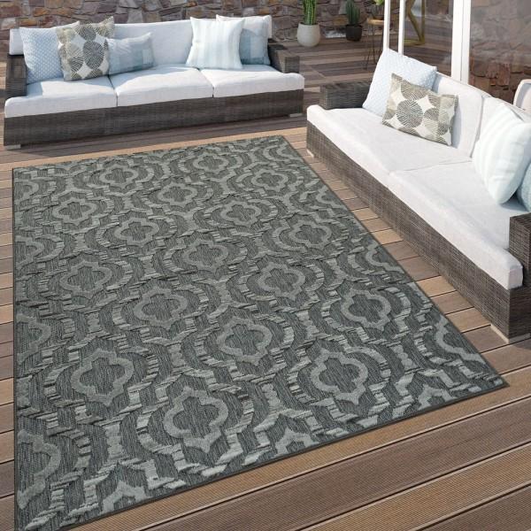 In- & Outdoor Terrassen Teppich Ethno Muster Bordüre Wetterfest Modern In Grau