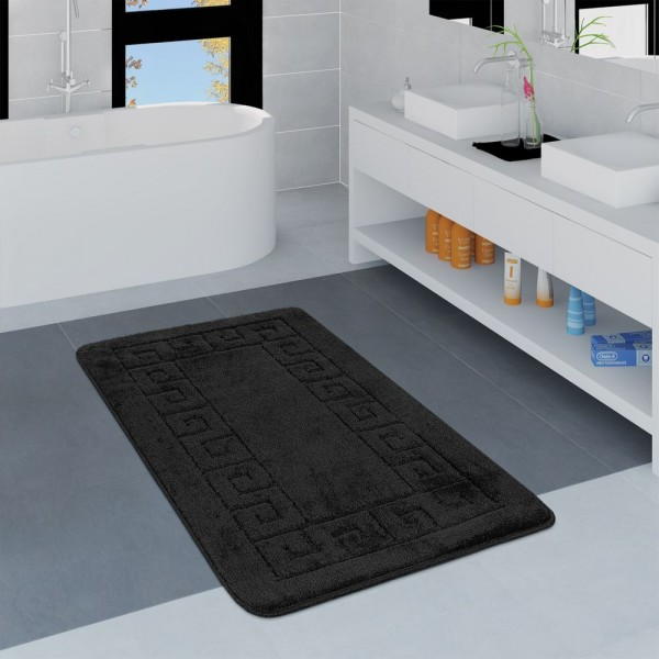 Moderner Badezimmer Teppich Bordüre Badvorleger Rutschfest Badematte In Schwarz