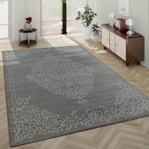 Wohnzimmer-Teppich, Kurzflor Mit Orientalischen Muster, Bordüre In Grau Weiß