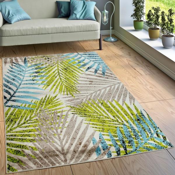 Designer Teppich Wohnzimmer Urban Jungle Palmen Design Braun Beige Grün Blau