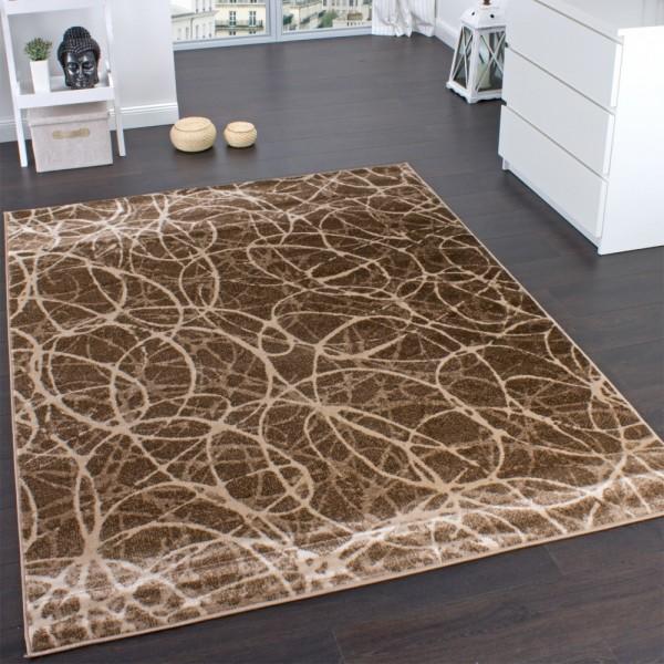 Designer Teppich Swirl Muster Meliert in Beige Braun Creme Preishammer