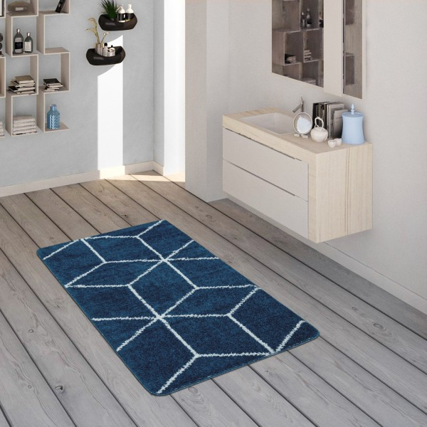 Bath Mat Short-Pile Diamond Pattern Blue