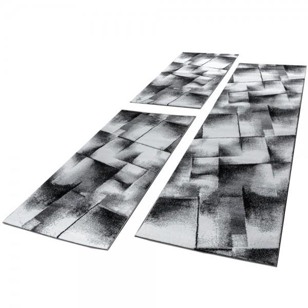 Läuferset Geometrische Muster Grau