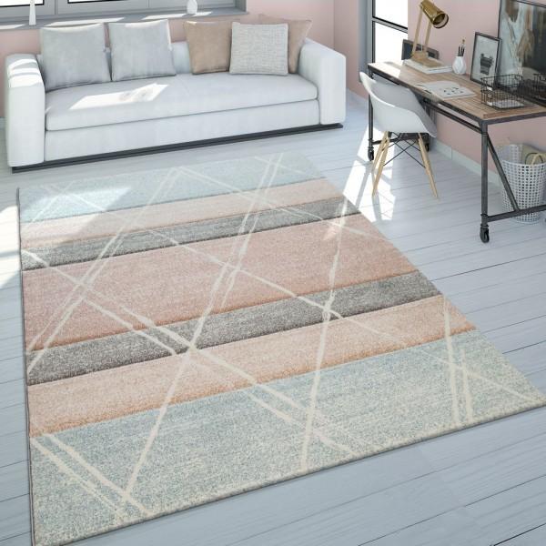 Skandi Teppich Wohnzimmer Blau Apricot Rauten Muster Pastell 3-D Design Kurzflor