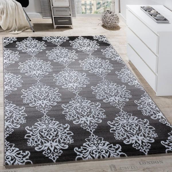 Teppich Wohnzimmer Klassisch Floral Muster Ornament Abstrakt Meliert Grau