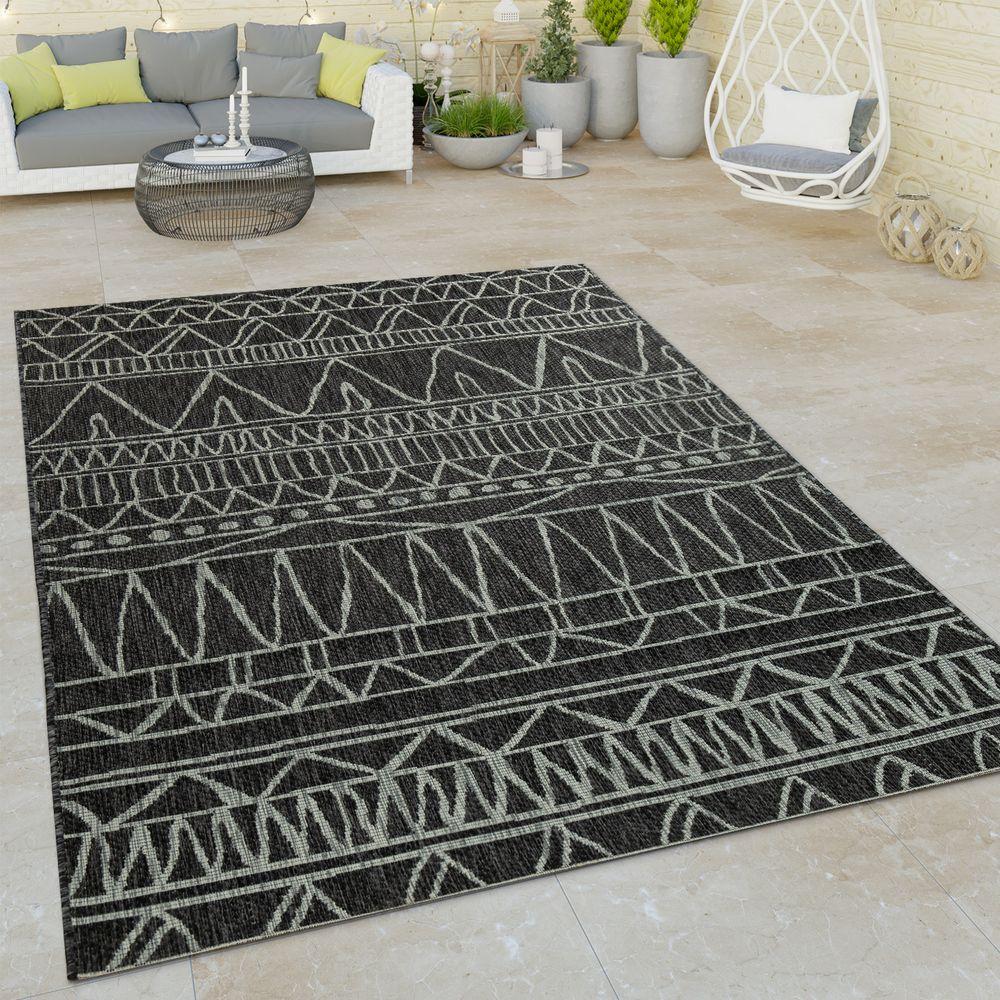 Dimensione:60x100 cm Paco Home Tappeto a Tessuto Liscio per Interni ed Esterni per terrazzo e Balcone con Moderno Motivo a Rombi Colore:Bianco e Nero