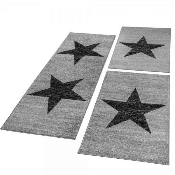 Läufer Set Teppich Stern Grau Schwarz