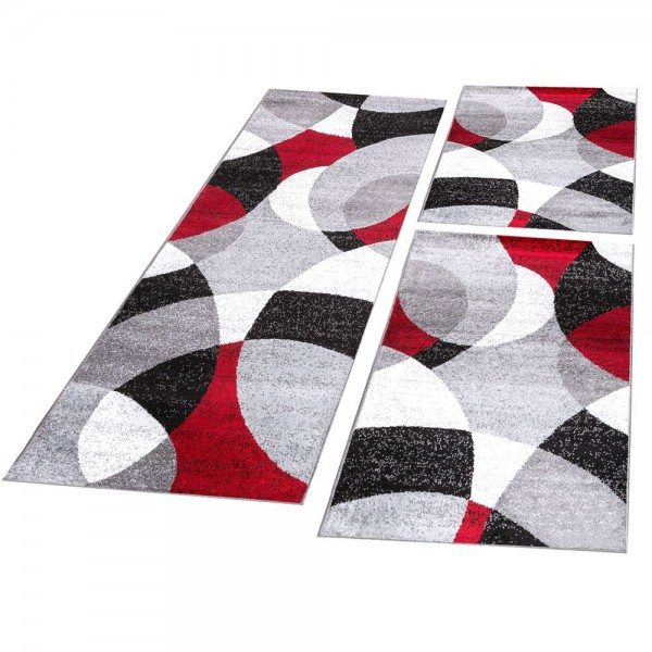 Läufer Set Abstrakte Halbkreise Rot