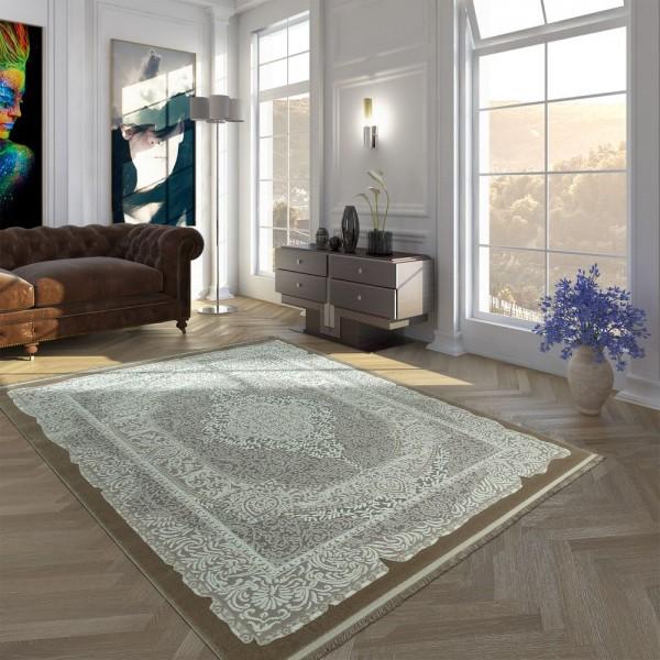 Polyacryl Teppich Kurzflor Hochwertig Orient Optik Ornamente Fransen Beige Creme