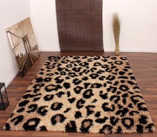 Teppich Hochflor Shaggy Leopard Muster Beige Schwarz